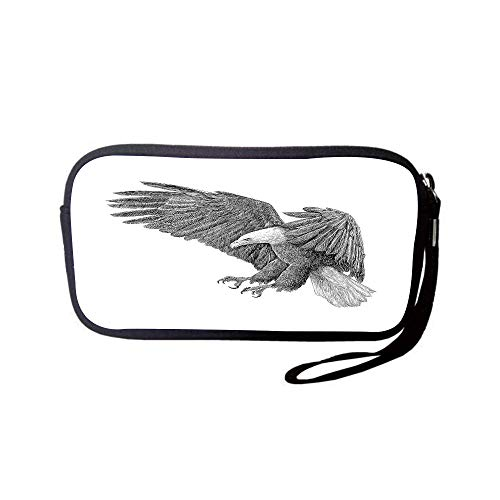 iPrint Neoprene Wristlet Wallet Bag,Coin Pouch,Eagle,Black and White Pencil Drawing Style Eagle with Detailed Features Wild Nature,Black Grey White,for Women and Kids - Indianapolis Colts Pencil