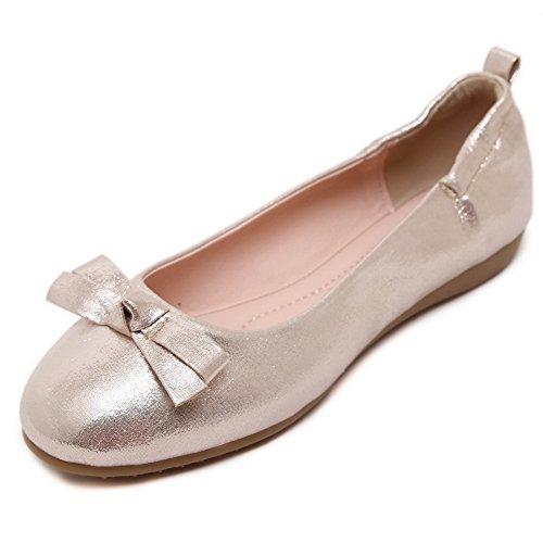 AgooLar Damen Schließen Zehe Ziehen Auf kunstleder Flache Schuhe Golden