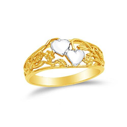 Size - 4.5 - 14k Two Toned Gold Fancy Fashion Heart Filigree Flower Ring
