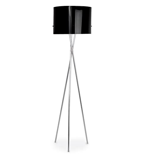 modern silver chrome metal tripod floor lamp with a black drum shade