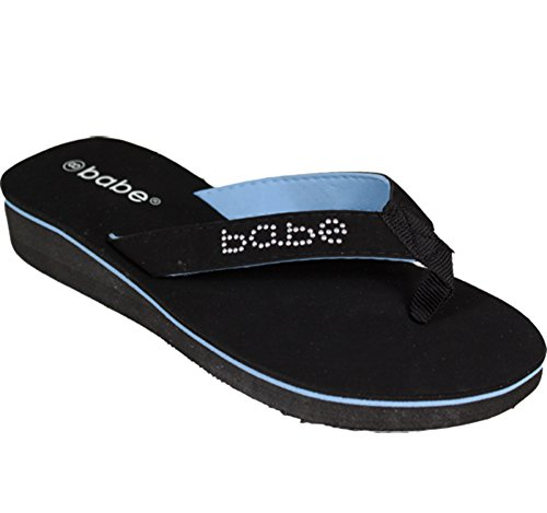 htweight EVA Foam Flip Flops Black Thong Silver Studded Sandals w/Color Accents (6, Blue) (Eva Foam Flip Flops)