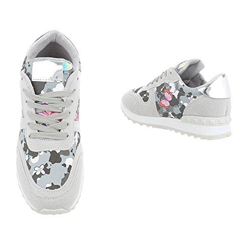 G 99 Schnürsenkel Damenschuhe Multi Low Ital Sneakers Freizeitschuhe Design Grau zq8wUBH6