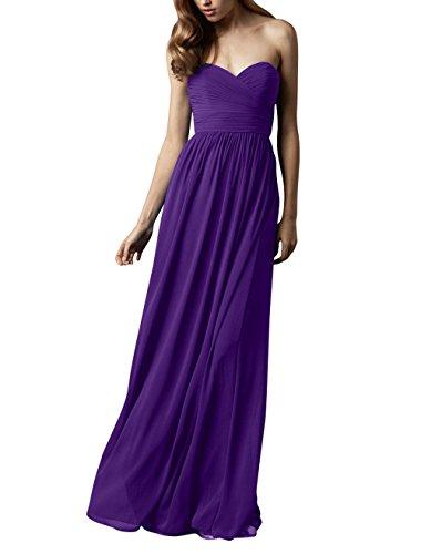Brautjungfernkleider Herzausschnitt Abschlussballkleider Brau Violett Dunkel Elegant Abendkleider mia Chiffon Lang Partykleider La CaqtxYpq