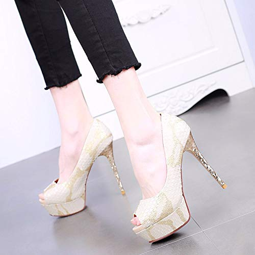 Shoes Heel Beige Sexy Super Mouth SFSYDDY Waterproof Heel Shallow Thin Fish High Mouth Platform wTHOqXA1x