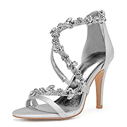 Open Toe Zipper Back Strap High Heel Silver Sandals