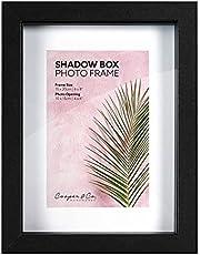 Cooper & Co. 15 x 20 cm Matt to 10 x 15 cm Shadow Box Wooden Photo Frame Set of 2 Pieces, Black