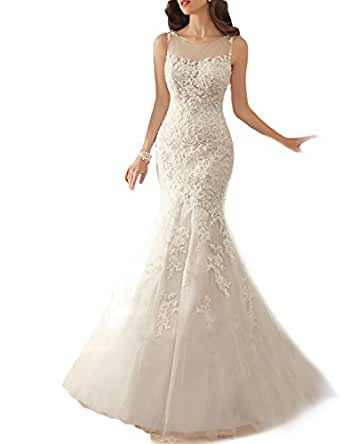 OYISHA Long Mermaid Wedding Dresses 2016 Appliqued Lace Up Bridal Dress WD22 At Amazon Womens