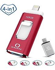 USB Flash Stick für iPhone,QARFEE USB Speicher Stick 128GB, 4 in 1 Speichererweiterung USB 3.0 Flash Drive Typ C Kompatibel für iPhone iPad Mac iOS Handy Android Computer Laptop