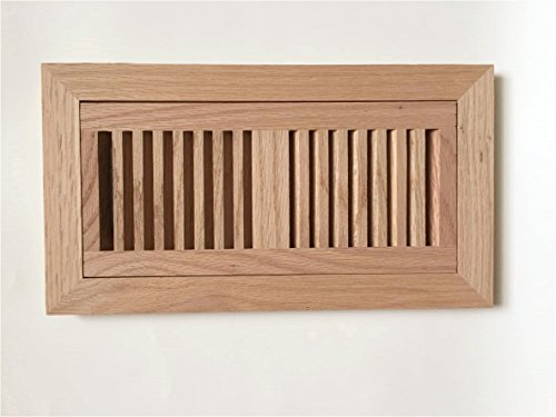 Kozziair Flush mount unfinished oak wood floor vents with frame (4