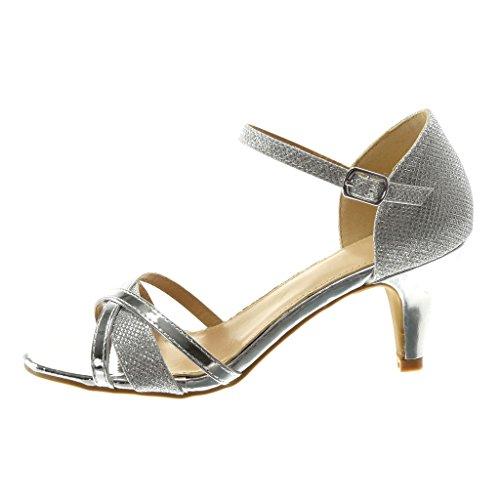 Caviglia Cinturino Cono Decollete 7 con Angkorly Cinghie Tanga con a Incrociate Moda Sandali Tacco Alto Alla Metallico Scarpe argento Elegante Donna Lucide Tacco cm 0CAAHqzpt