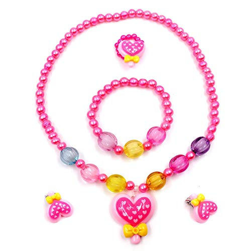 Unijew Kids Jewelry Set Costume Jewelry for Kids Stretch Little Girl Princess Jewelry Accessories Party Favors Glitter Necklace for Toddler Birthdays Gift Halloween Christmas Valentine's Day