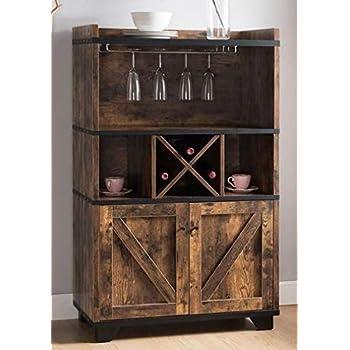 Amazon Com Sideboard Buffet Storage Cabinet Brown Black