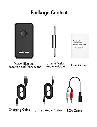 Mpow BH045 Bluetooth Receiver and Transmitter Upgraded with aptx and aptX-LL, Bluetooth Car Adapter w/Built-in Mic for Hands-Free Call, Bluetooth Transmitter for TV to Pair with 2 Bluetooth Headphones by Mpow (Image #7)