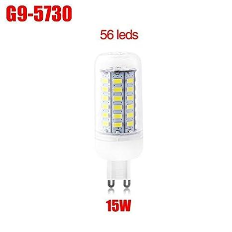 G9 15W 220V Bombillas del Maíz 56 LEDs 5730 SMD 360 Grados Iluminación de Ahorro de Energía Lámpara Blanco Càlido: Amazon.es: Iluminación