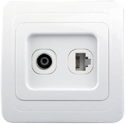 Igking supply - Toma de pared para antena de TV RJ45 y ordenador: Amazon.es: Bricolaje y herramientas