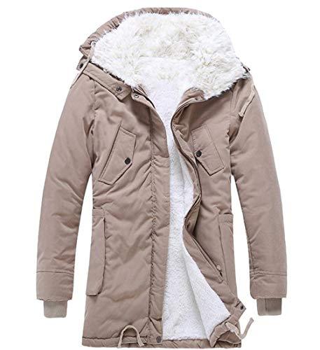 Fit Long Relaxed Jacket Fleece Mid Hoodie VITryst Khaki Mens Warm Winter Anorak waAn8I