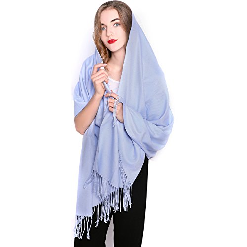 REEMONDE Womens Super Soft Long Shawl Solid Colors Warm Pashmina Big Scarf (Skyblue)