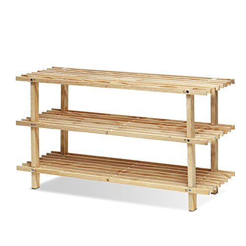 Three Tier Natural - Furinno FNCJ-33003 Pine Solid Wood 3-Tier Shoe Rack, Natural