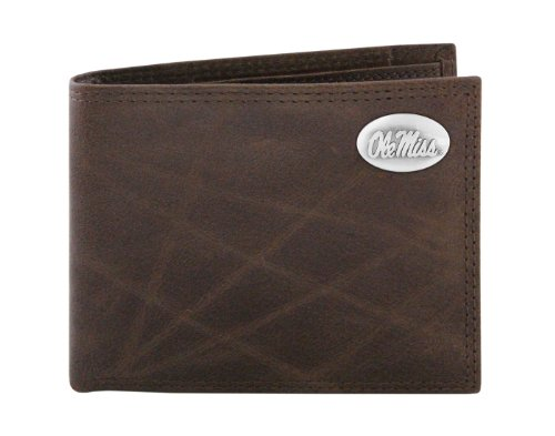 NCAA Mississippi Old Miss Rebels Zep-Pro  Wrinkle Leather Bifold Concho Wallet, Brown