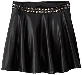 Flowers by Zoe Big Girls' Pleather Skater Skirt, Black, Medium