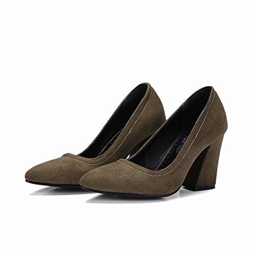 MissSaSa Damen chunky high heel Step Pumps Dunkelgrün(6cm)