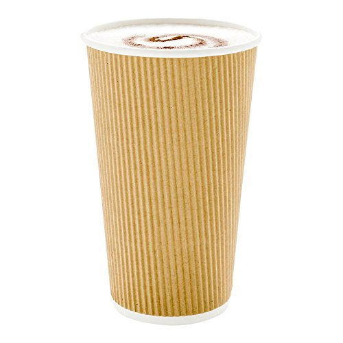 500-CT Disposable Kraft 16-OZ Hot Beverage Cups with Ripple Wall Design: No Need for Sleeves – Perfect for Cafes – Eco-Friendly Recyclable Paper – Insulated – Wholesale Takeout Coffee Cup by Restaurantware