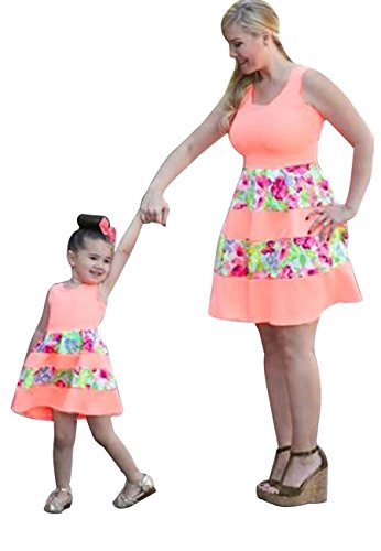 OMZIN Dress Family Matching Mommy and Me Patchwork Bohemia Short Dress Pink 1-2T -