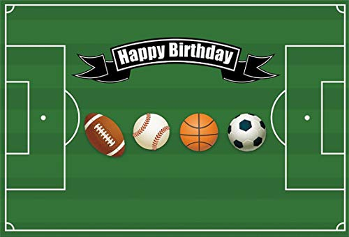 AOFOTO 7x5ft Happy Birthday Boy Soccer Pitch Party Decoration Background Balls Game Photography Backdrop Rugby American Football Baseball Basketball Children Kid Sports Themed Props Vinyl -