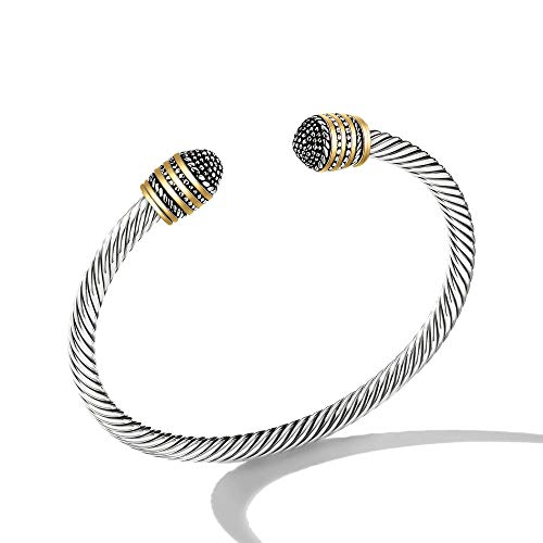 2 Tone Gold Bracelet - Mytys Cuff Bracelet Designer 2-Tone Silver Bracelets Gold Cable Wire Bangle Stainless Steel for Unisex Free Size (Silver Plating)