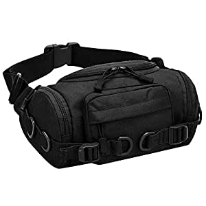 TOOGOO Large Fanny Pack for Men and Women Camo Waist Bag for Travel, Fishing Tackle Bag, Hunting, and Hiking Pack Black