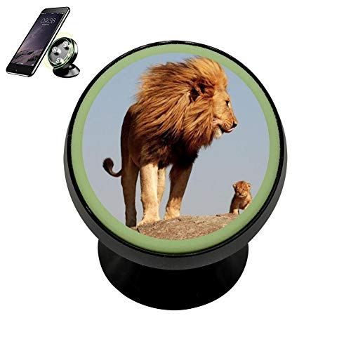 Lion Maternal Love Vehicle Phone Mount Night Lights Holder Magnetic Universal Cradle Stand Cars Dashboard Mount Strong Magnets Cell Phone Kits for Women Men ()