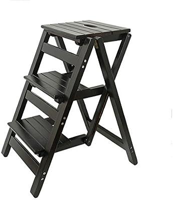 Taburetes escalera Mobiliario de oficina Taburete de banco taburete de madera maciza de interior taburete plegable multifuncional de escalera escalada de home de tres escalones (Color : C) : Amazon.es: Hogar