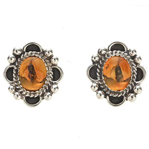 (Native American Citrine Silver Post Earrings Sterling Curled Wire Frame 2235 )