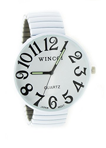 Ladies Super Large Face Stretch Band Easy to Read Watch-White