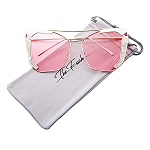 The Fresh Oversized Cat Eye Color Flat Lens Street Fashion Metal Frame Women Sunglasses (2-Gold/White, Pink)