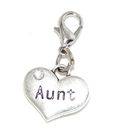 """Pro Jewelry Clip-on """"Aunt Heart w/ White Crystal"""" Charm Dangling"""