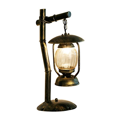 Vintage Creative Iron Desk Lamp, Round Glass Lampshade, Antique Desk Lamp, Cafe Bar Study Living Room Bedroom Table Lamp, (Distressed Copper Table Lamp)