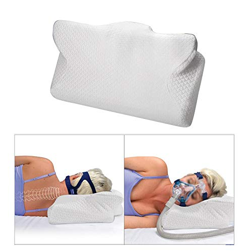 CPAP Pillow - Memory Foam Contour Design, Reduces Face Mask Pressure & Air Leaks,2 Head & Neck Rests for Max Comfort, CPAP, BiPAP & APAP User Supplies - for Stomach, Back, Side Sleepers,by Funill (Best Cpap Mask For Stomach Sleepers)