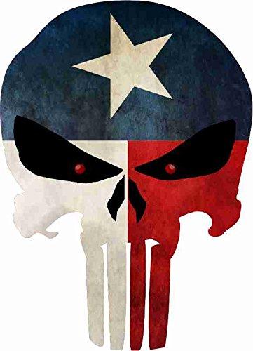 Grunge Style Texas Flag Punisher Skull Reflective Decal