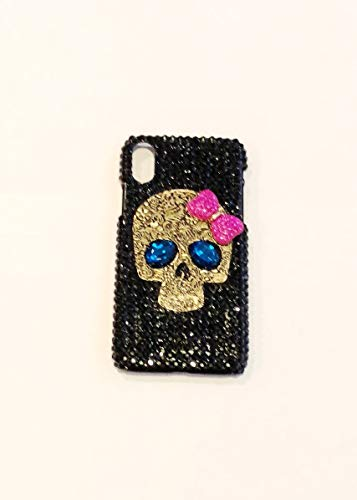 iPhone Xs Max Case,Blingy's New Cool Sparkling Skull Pattern Bling Bling PC Hard Case Compatible for iPhone Xs Max (Pink Bow Skull)
