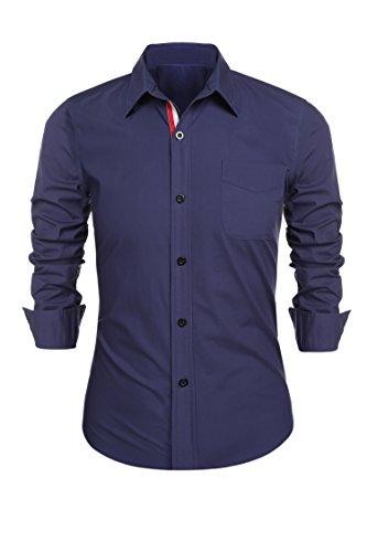 Detailorpin Mens Business Dress Shirt Slim Fit Formal Contrast Wedding Office Button Down Long Sleeve Cotton Shirt