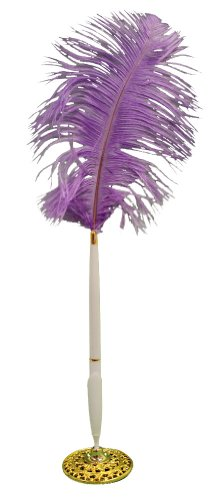 Base Plume Pen (Lavender Ostrich Feather Plume Pen and Holder Set)
