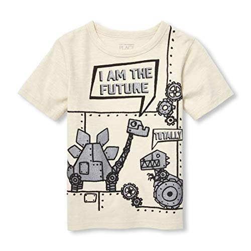 The Children's Place Boys' Toddler Short Sleeve Graphic T-Shirt, Stone, 12-18MOS (Best Place For Plain T Shirts)