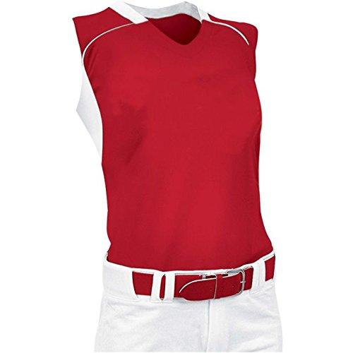 ChamproレディースノースリーブレーサーバックSoftball Jersey B00JARBE54 Large|スカーレット/ホワイト スカーレット/ホワイト Large