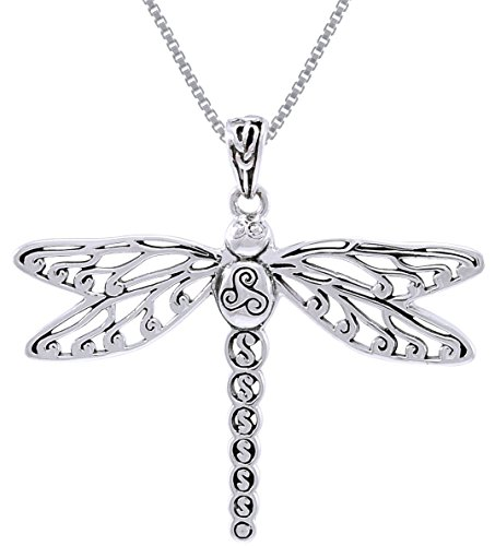 Jewelry Trends Sterling Silver Celtic Triskele Dragonfly Pendant on 18 Inch Box (Dragon Triskele)