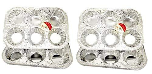 Disposable Aluminum Cupcake Pan, Muffin Pan (Pack of 6) | Baking Tin for Baking Cupcakes, Muffins and Mini Pies (11