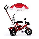 Wheelchair Umbrella, Baby Stroller Umbrella Pushchair Cover Parasol for Beach, UV Protection, Sun, Rain Outdoor Umbrella Red