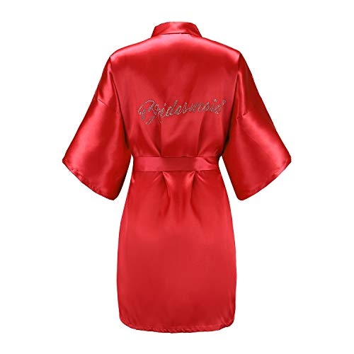 EPLAZA Women's One Size Silver Rhinestones Bride Bridesmaid Short Satin Robes for Wedding Party Getting Ready (red, Bridesmaid) ()