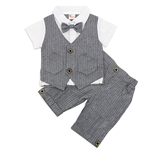 Baby Boys Formal Suits Stripe Wedding Outfits White Shirt with Stripe Vest and Bow Tie Shorts Tuxedo Overall Birthday Gift Toddler Boy Family Photo Outfits (Stripre 12-18 Months)