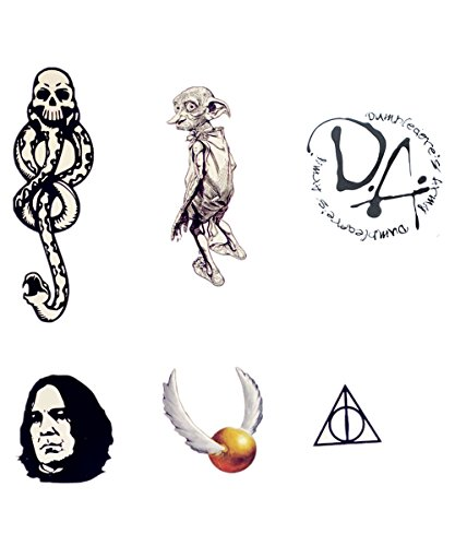 6 Sheets Harry Potter Dumbledore Temporary Tattoo Set Letter Tattoo Body Graphics -